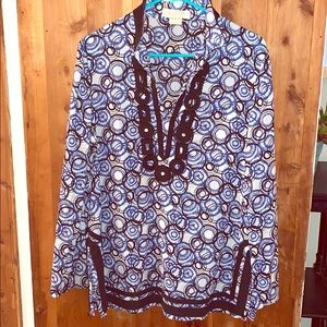 Michael Kors Embellished Tunic Size Large EUC Blue